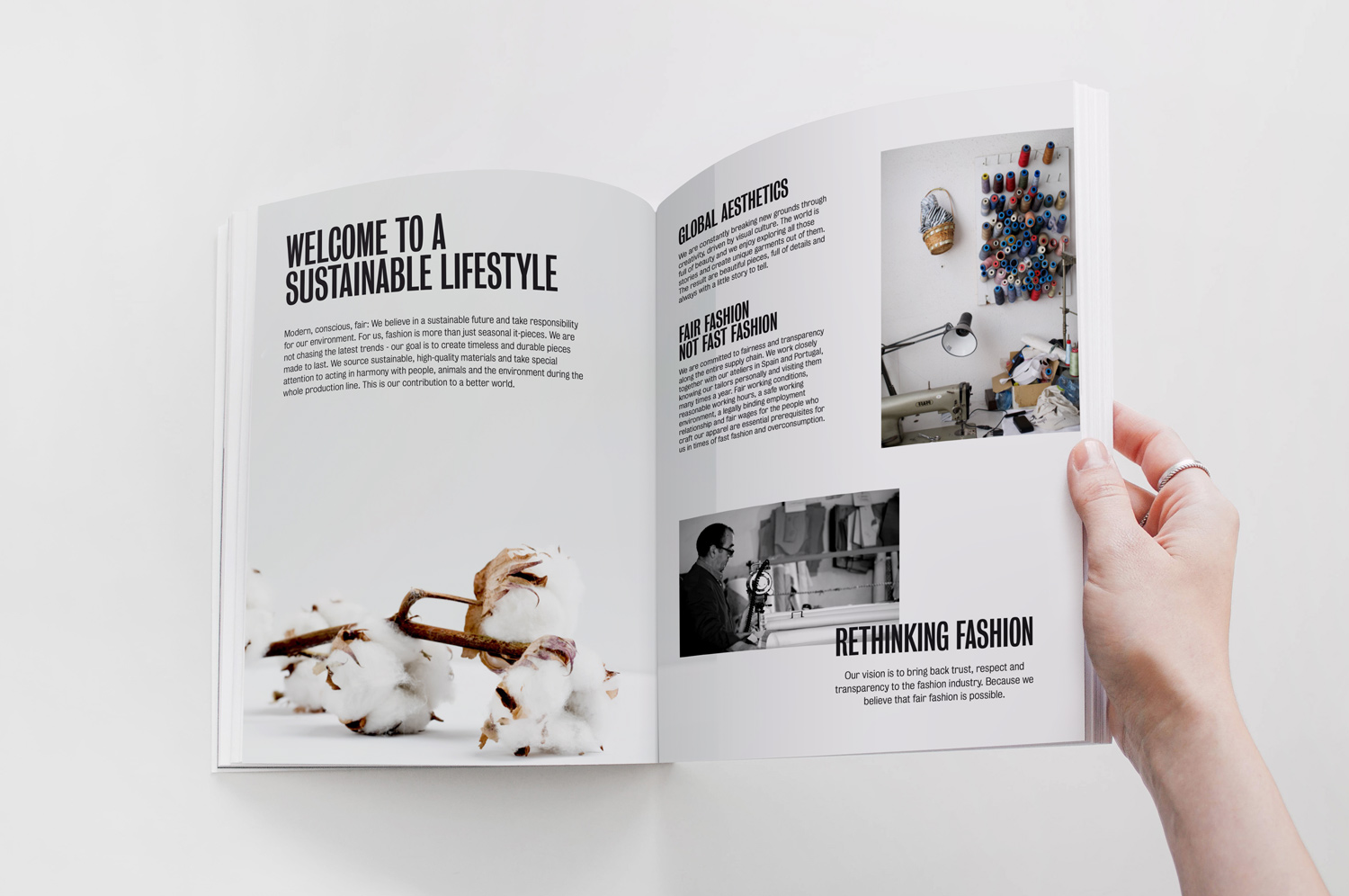 layout of Catalogue for a Sustainable Fashion Brand